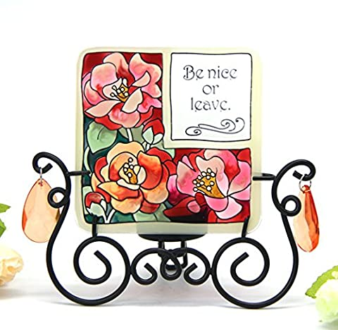 Hand Painted Art Glass Tea Light Candle Holder Table Topper Candleware Holiday Decor (Rose)
