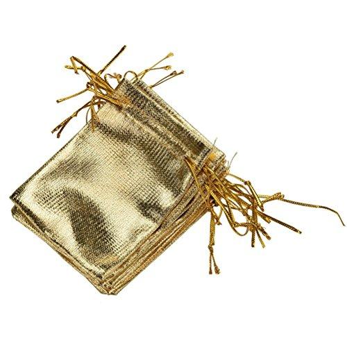 Haodou 10 Stück Geschenk Taschen Schmuck Beutel Säckchen Drawstring Tasche Süßigkeiten Taschen Für Festival Party Und Hochzeit 7 * 9cm (Golden)