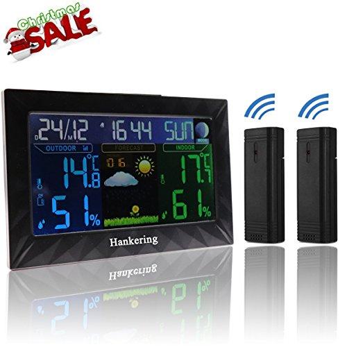 Hankering Super-Size-Bildschirm Wetterstation——2 x Außensensor——Temperatur / Feuchte / Barometer / Wecker / Mondphase / Uhr / Außen Thermometer und Hygrometer