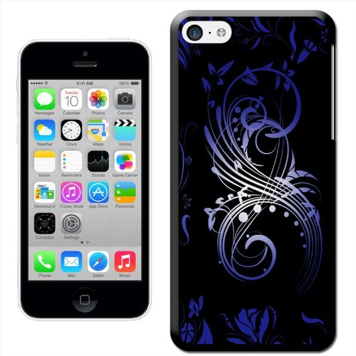 Fancy A Snuggle 'Elegant Blau Swirl' Hard Case Clip On Back Cover für Apple iPhone 5 C Contemporary Art Swirls