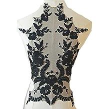 DIY Decor novia encaje flor apliques bordado trimán para vestido de boda negro