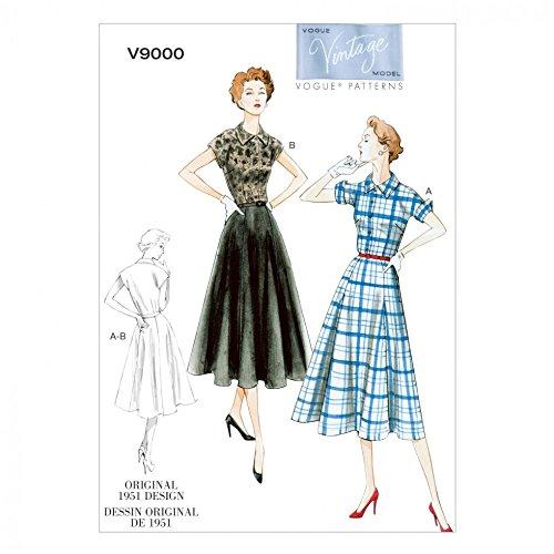 Vogue Vintage Model Schnittmuster 9000Kleid & Gürtel Größen: 16-18-20-22-24 Vintage Vogue