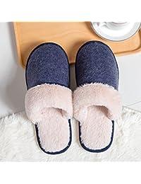 b61dadeeeb461 YMFIE Señoras Zapatillas de algodón de Invierno cálido Interior Impermeable  Zapatillas de Felpa Antideslizante Shoes