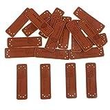 IPOTCH 20x Handmade Labels Etiketten Tags PU Leder Annäher Labels Hand Nähen Knopf DIY Basteln für Kleidung - Stil 3