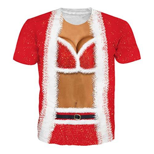 Lustiges Weihnachtst-Shirt Gefälschte Zweiteilige 3D-T-Shirts EUR Größe Kleidung Hip Hop Unisex T-Shirt BB10615 EUR M