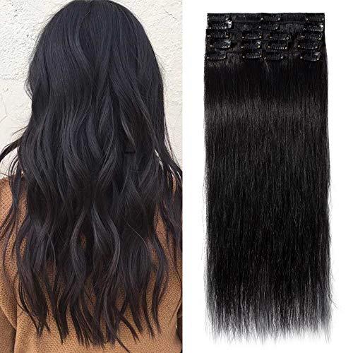 """TESS Extensions Echthaar Clip in Schwarz #1 Remy Haar Extensions guenstig Haarverlängerung 18 Clips 8 Tressen Lang Glatt, 24""""(60cm)-80g"""