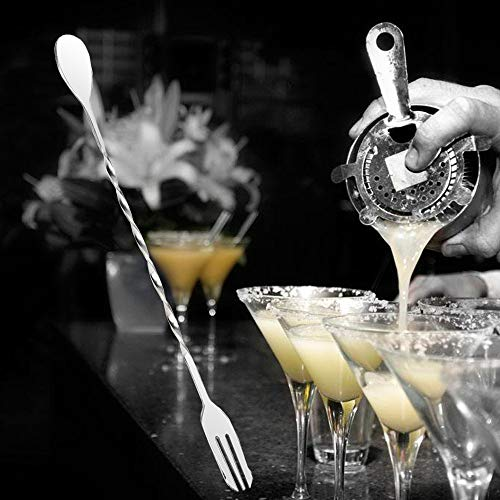 TAOtTAO Spoon Fork Edelstahl-Bar Doppelköpfiger Cocktail Twisted Mixing Rührlöffel Gabel