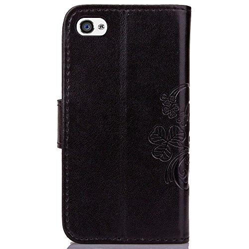 iPhone Case Cover portefeuille en cuir en 1 - 2 tpur folio coquille la couverture arrière intérieure magnétique avec carte détachable créneaux & bracelet pour iphone 4s ( Color : Light Purple , Size : Black