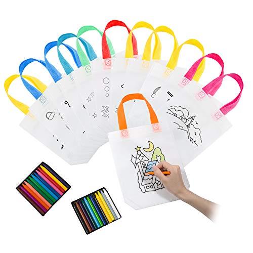 Joeyer 12 Zaini per Bambini da Colorare con 24 PCS Le Cere Colorate, Borsa Graffiti per Regali di Feste di Compleanno, Comunioni(Colore Casuale)
