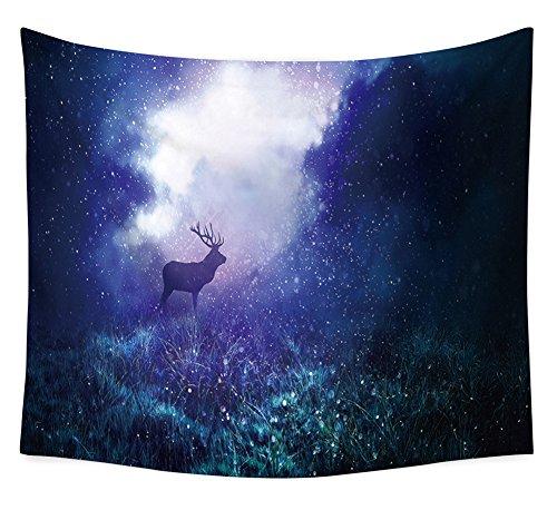 intriqué Cerf in Wilden wäld Tapisserie Schöne Forêt nocturne voller fireflies mural en tapisserie Hippie Gypsy Tenture Couvre-lit basse Cover Plage de plage Taupe 91*59in multicolore