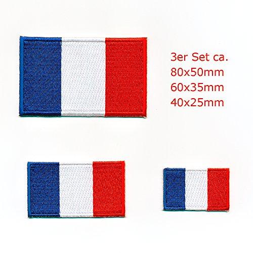 3 Frankreich Flaggen Paris France Flags Lyon Patch Aufnäher Aufbügler Set 0911