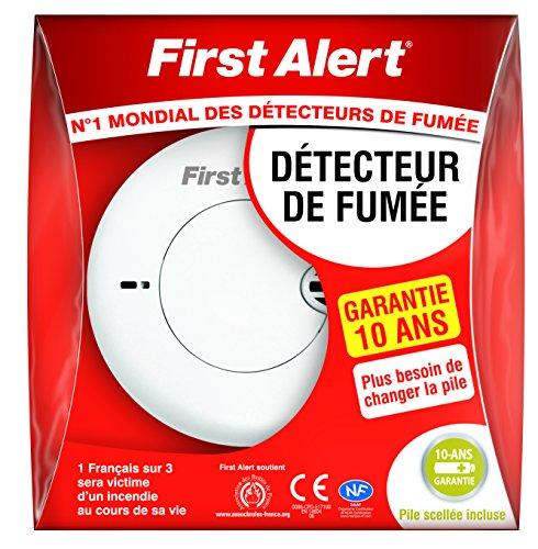 First Alert 1 Détecteur Avertisseur Autonome de fumée garantie 10 ans x avec pile lithium scellée
