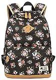 Rucksack Vintage Mode Damen Leinwand Einfache Blumen Schultertasche Freizeitrucksack Tasche Rucksäcke