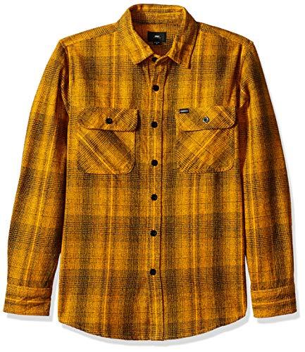 Obey Herren Myles Long Sleeve Woven Shirt Button Down Hemd, Yellow Multi, Klein - Long Sleeve Woven Shirt