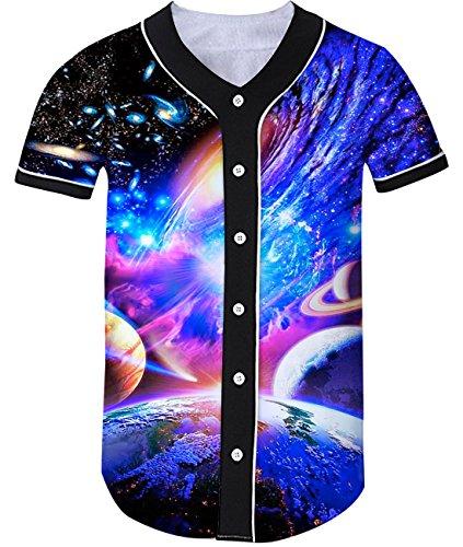 Loveternal 3D Galaxy Weltraum Nebelfleck Grafik Print Coole Baseball Jersey Softball Sport Shirt für Männer Frauen M (Jersey Galaxy)
