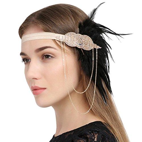 Schwarze Flapper Stirnband (1920 Jahre Vintage Flapper Champagner Stirnband mit Feinen Ketten und Schwarze)