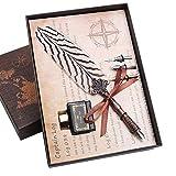 Hethrone Schreibfeder Dip Pen Natürliches Muster Feder Kalligraphie Ink Pen Set PA-53-1 (Goldfasan)