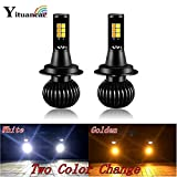 Yituancar 2Pcs Two Color Change Led Car Light Bulb Constant Color Change Flashing Styling Source H1 H3 H7 H11 880 Front Fog Lamp : White Flashing, 380