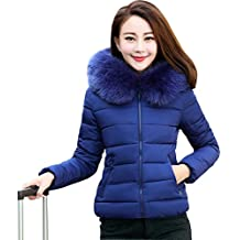 Mujer Hooded Jackets Casual Espesar De Abrigo Acolchado Chaqueta De Algodón Invierno Azul L