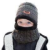 WELROG Kinder Jungs Mädchen Winter Warm Stricken Beanie Hut und Schal einstellen mit Fleece-Futter (Grau)
