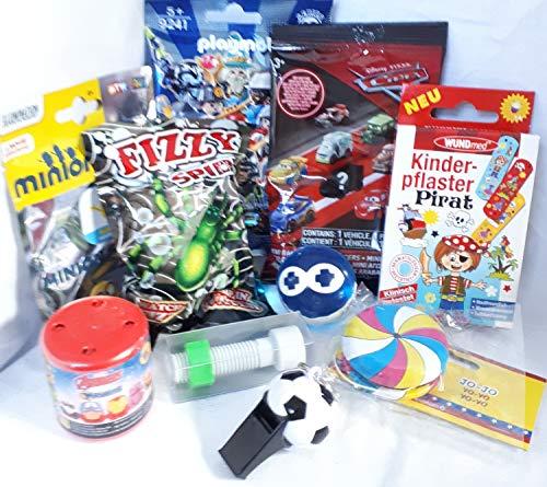 Geschenkpost24 110110 Mitgebsel f. Jungs 10er mit Cars Minion Playmobil Blindbag Spider Yoyo Sternenflummi