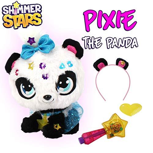 Shimmer Stars S19300 Pixie Panda Peluche Morbido, Nero, Bianco