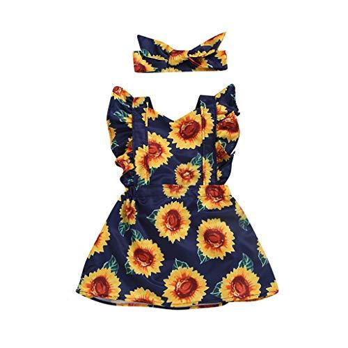 LianMengMVP Kinder Mädchen Kleid Baby Fly Sleeve Sommer Sunflower Printed Princess Dress + Stirnbänder ()