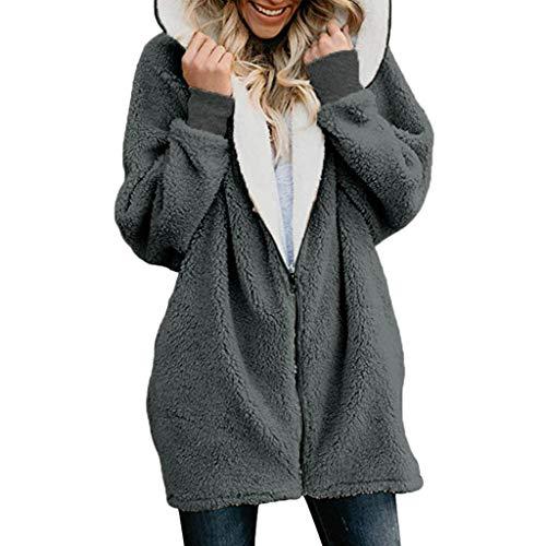 GOKOMO Damen Lamm Pullover Pullover Jacke Kapuzenjacke Damen Casual Mantel Faux Für Revers Lange Ärmel Outwear(Grau,XXXX-Large)