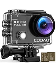"""COOAU WiFi Action Sport Cam 1080P Full HD Underwater Camera 2"""" LCD 170° Wide Angle Lens Helmet Camera with 2 Batteries 1050 mAh and Accessories Kits"""