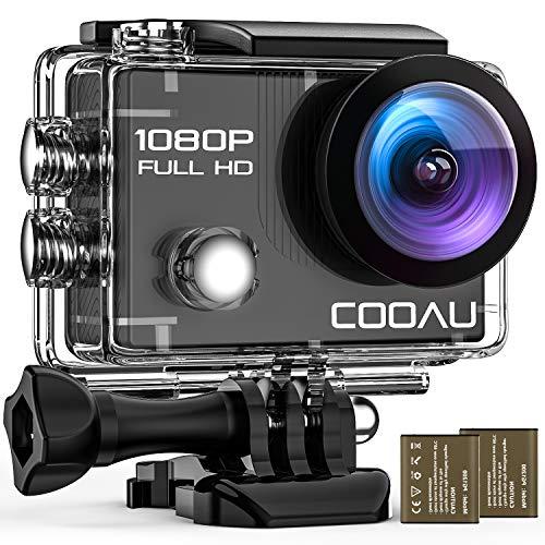 COOAU WiFi Action Sport Cam 1080P Full HD Unterwasserkamera 2' LCD 170° Weitwinkelobjektiv Helmkamera mit 2 Akkus 1050mAh und Zubehör Kits