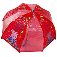 New Girls/Childrens Red Peppa Pig Character Waterproof Umbrellas. - Red - UK SIZES 1-1