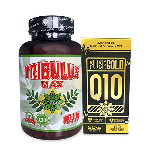 Pure Gold CoEnzyme Q10 CoQ10 60 softgels + Tribulus terrestris 120 capsule,Potente antiossidante,aumentare i livelli di energia e aumentare la vitalità,testosterone booster,libido
