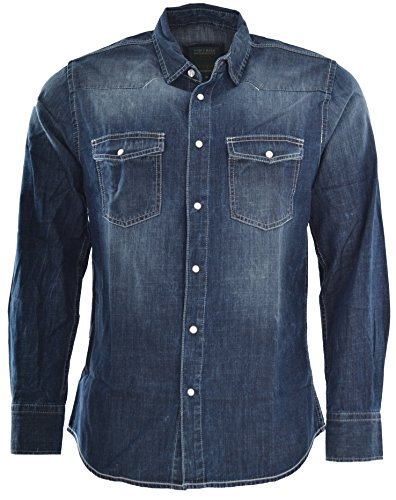 Attire Herren Jeans Hemd Freizeit Denim Langarm Jeanshemd Shirt Regular Fit Med-Blue (L, Med-Blue)