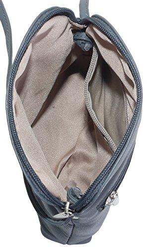 Vera pelle morbida italiana, attraversare il corpo piccolo / Micro o borsa a tracolla.Fornita nella pratica custodia protettiva marca. Grigio scuro