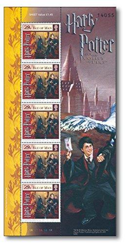 Harry Potter   Briefmarken-Kleinbogen  Insel Man  postfrisch  Harry Potter & der Feuerkelch  Hogwarts   Trimagisches Turnier   Schulball   Schulchampions  Joanne K. Rowling  Ron Weasley   Hermine Granger (Harry-potter-briefmarken)