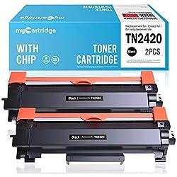 2 myCartridge Cartouches de Toner Compatibles Brother TN-2420 TN2420 (avec Puce) pour Brother HL-L2350DW DCP-L2530DW HL-L2370DN MFC-L2710DN HL-L2370DN HL-L2375DW MFC-L2710DW(2*Noir)