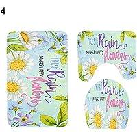 Matte Terzsl 3 Teile/Satz Retro Blume Weichen, Saugfähigen Bodenmatte WC Deckel Bad Kissen - 4#