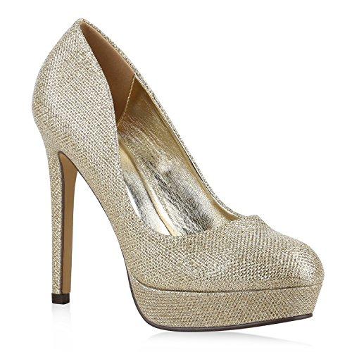 Damen High Heels Plateau Pumps Leder-Optik Braut Stilettos Abend Peeptoes Spitze Schuhe 130309 Gold Total 40 Flandell
