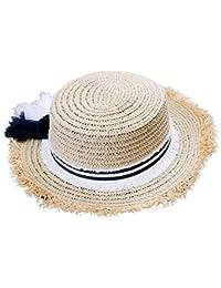 Kanggest Sombrero de Paja de la Borla del Rafi del Verano de los Niños  Sombrero Plano d06f92d14fe