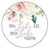 48 x Aufkleber 40 mm Hochzeit Blumensamen Roses Gastgeschenk Etikett 185401