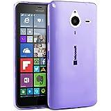 Microsoft Nokia Lumia 640XL funda, Ultra Thin Slim Transparente TPU Silicona Funda Carcasa Gel TPU Transparente - Morado