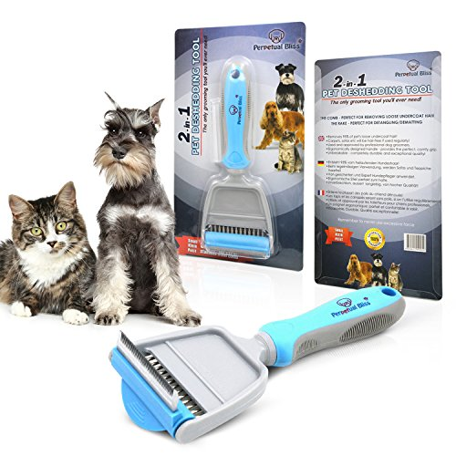 51iJoRWm3NL - NO.1 BEAUTY# Dog Grooming Brush With FREE EBOOK! 2-in-1 Professional Pet Deshedding Tool, Cat Grooming Tool. Superb Design - COMB For Your Pet's Loose Undercoat Hair And RAKE For Detangling And Dematting Longer Thicker Hair. One Of The Best Cat Grooming Tools Available! Dramatically Reduces Hair Amounts Around Your House. Your Pet Will Love It Due To The Manufacturing Quality. Size - SMALL (6cm Wide Comb) For Smaller Dogs, Cats, Rabbits. 100% Satisfaction Guaranteed. Reviews  Best Buy price