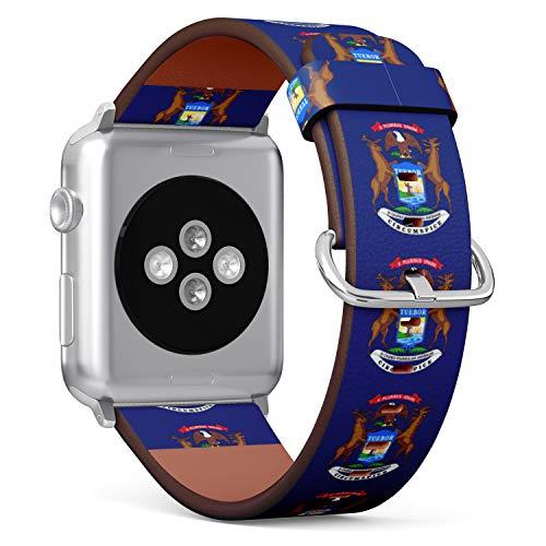 R-Rong kompatibel Watch Armband, Echtes Leder Uhrenarmband f¨¹r Apple Watch Series 4/3/2/1 Sport Edition 38/40mm - State Flag of Michigan Michigan Apple