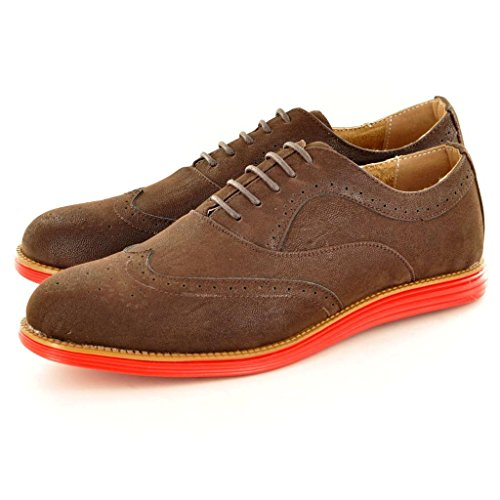 Mens Dark Brown Casual Formal Lace Up Brogue Designer flat Shoes( Size 9, Dark Brown)