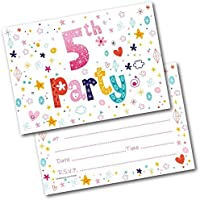 Doodlecards 5TH Birthday Party Invitations Age 5 Female Girls Childrens Pack of 20 Invites
