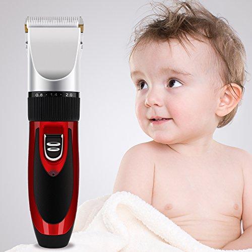 MVPOWER Elektrsicher Haarschneider Keramik Haarschneidemaschine Haar Trimmer Set Akku&Netzbetrieb, Haartrimmer mit 4 Aufsätze für Herren Kinder