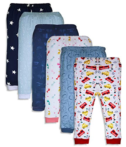 Minicult Cotton Baby Pajama Pants Unisex with Rib (Pack of 6) (Multicolor_9-12 Months_C2)