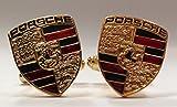 Porsche Manschettenknöpfe, Schwarz, Rot, Gold