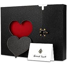 Firbon Álbum Libro de Recuerdos de la Vendimia para la boda, Compromiso, Baby Shower, Cumpleaños (Negro)