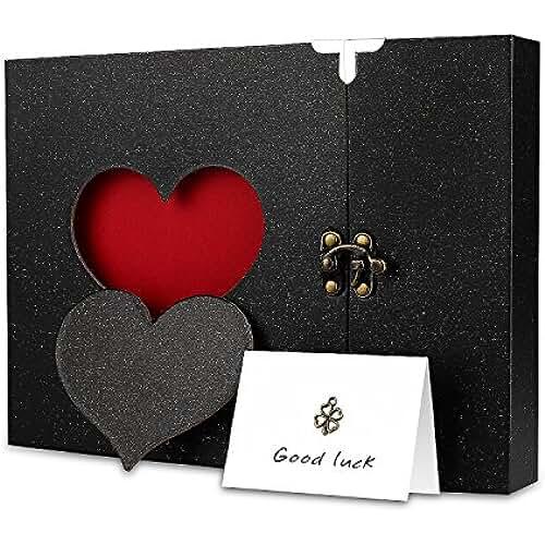Firbon Cuaderno de Anilla Libreta de Álbum Clásico con Forma de Corazón Tapa Dura 31 Hojas Desmontables (Negro)